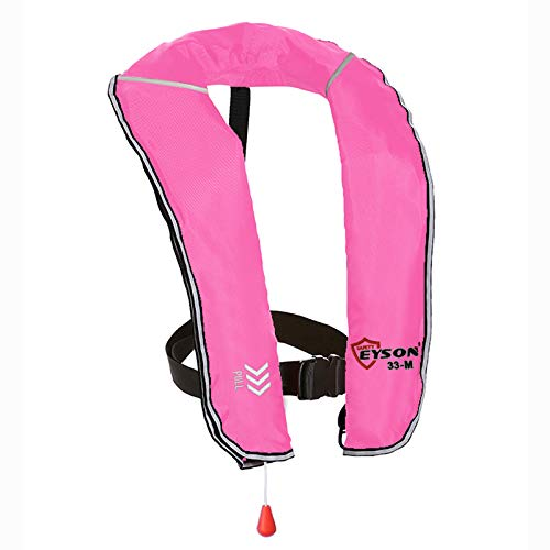 Eyson Inflatable Life Jacket Inflatable Life Vest for Adult Classic Manual (Pink)