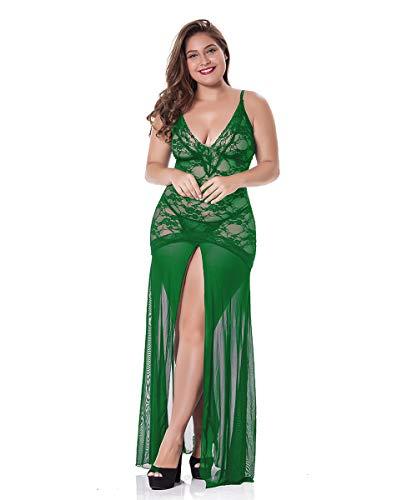 LINGERLOVE Sexy Dessous Lang Negligee Große Größen Spitze Kleid für Damen Transparent Nachtwäsche Langes Dessouskleid mit G-String