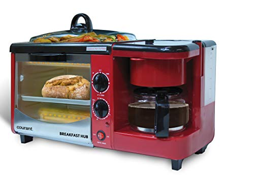 Courant CBH-4601R 3-in-1 Multifunction Breakfast Hub (4 Slice Toaster Oven, Large 10'' Diameter Griddle Pan, Multi Cup Coffee Maker), Red