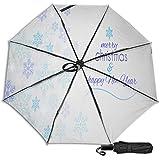 Paraguas manual de triple pliegue con diseño de estrella de Navidad, color azul y blanco