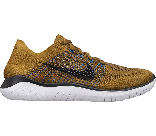 Nike Men's Free RN Flyknit 2018 Running Shoes, Multicoloured Olive Flak Black Desert Moss White 302, 7.5 UK