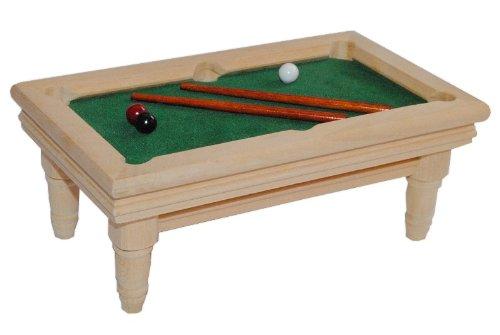 alles-meine.de GmbH Billardtisch aus Holz hell Miniatur - Maßstab 1:12 - für Puppenstube Puppenhaus Snooker Poolbillard