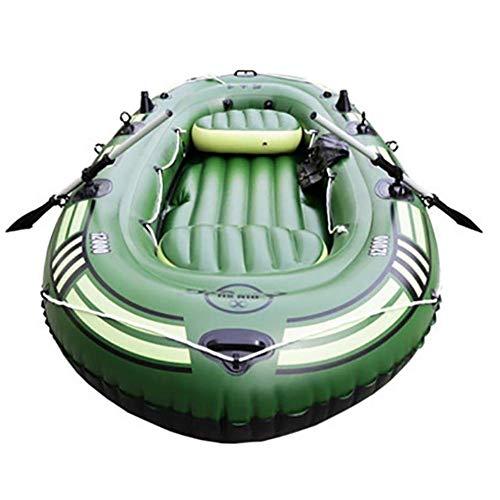 Gommone Verde - La Migliore Navigazione da Pesca - Imbarcazione da Kayak Gonfiabile for 4 Persone con Remi in Alluminio E Pompa a Pedale - Pescatore E attività Ricreative