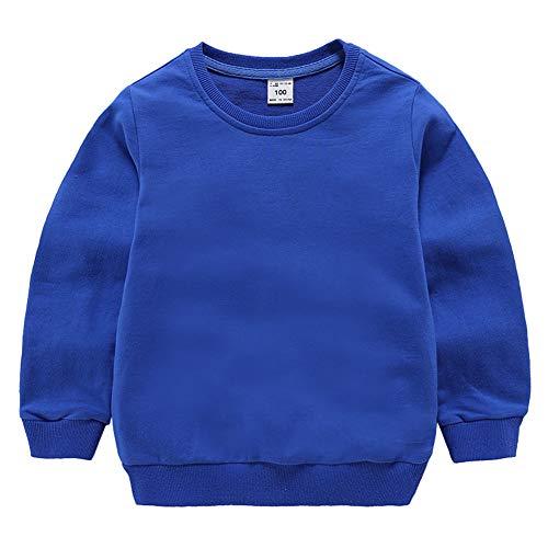 Lishui Kind Jungen Sweatshirt Mädchen Pullover Langarm Rundhalsausschnitt CaiBlau 150 Höhengeeignet 140-145CM