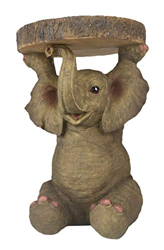 Middle-England 34cm Baby African Elephant Side Occasional Table Plant Stand Statue Polystone