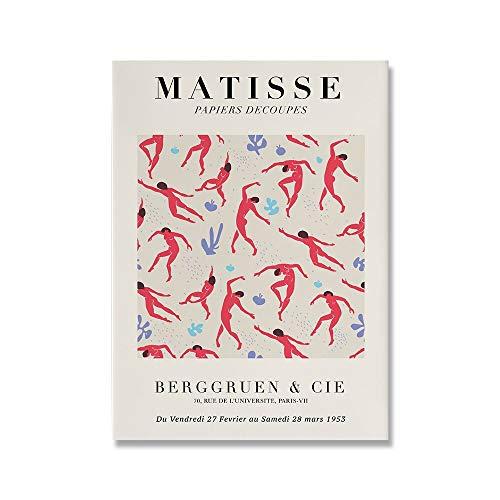 Henry Matisse pintura abstracta minimalismo ilustración pared arte impresión cartel retro beige familia sin marco lienzo pintura C 70x100cm