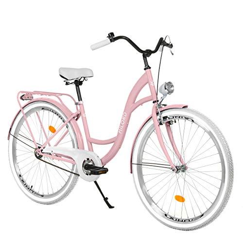 Milord Bikes Bicicletta Comfort Rosa a 1 velocità da 28 Pollici con Marsupio Posteriore, Bici Olandese, Bici da Donna, City Bike, retrò, Vintage