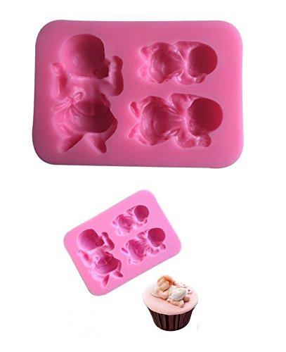 Moule Silicone 3 Bébé bebe 8,2x5,7cm Pâtisserie Gâteau Décoration Sucre