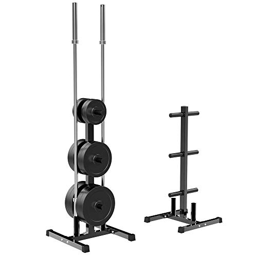 YAHEETECH 2-inch Barbell Plate and Dumbbell Racks Tree Olympic Plate Rack Weight Bumper Plate Holder w/ 2 Bar Holder