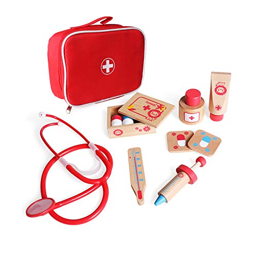 Image of iwood Wooden Doctor Kit, 11PCS Pretend Play Durable Medical Kit with Carrying Bag Doctor Role-Play Educational Toys for Kids Toddlers