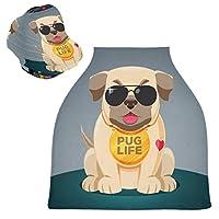 クールなパグ犬ベビーカーシートカバーキャノピー伸縮性看護カバー幼児用母乳の男の子の女の子のための通気性防風冬のスカーフ