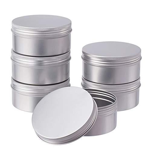 BENECREAT 6 Stücke 200 ml Aluminium Zinn Gläser, Runde Aluminium Blechdosen Kosmetische Behälter mit Schraubdeckel Deckel für DIY Handwerk Salve Kerze Reise Lagerung-Platin