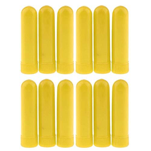 Petyoung 12 Stücke Ätherisches Öl Flasche Aromatherapie Nasal Inhalator Sticks DIY Monochrome Parfüm Nasal Stroh Baumwolle Riechen Rohr (Color : Yellow)