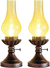 Mopoq Desk Lamps 2-piece Set Old Fashioned Electric Lantern Oil Lamp Bronze Antirust Nightstand Desk Table Lamps Antique L...