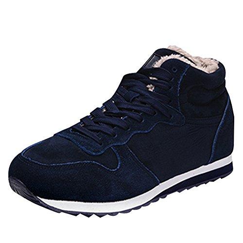 KINDOYO Unisexo Hombres Mujer Zapatos de Nieve Invierno Botines Martin Boots Casual Calentar Forro de Zapatillas de Cordones, Azul