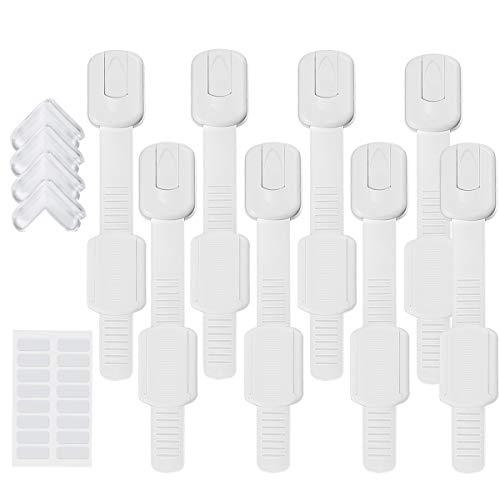 Baby Schubladensicherungen, DUTISON 8 Stück Kindersicherung Sicherheit Schrankschloss für Tür Schränke Kühlschrank und Schubladen mit Starker Kleber ohne Bohren - weiß