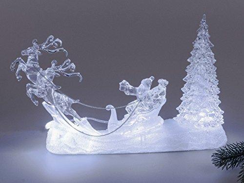 Formano Weihnachtsmann mit Rentier Schlitten Acryl Figur mit LED Beleuchtung und Wasser gefüllt Weihnachtsdekoration und Winterfiguren