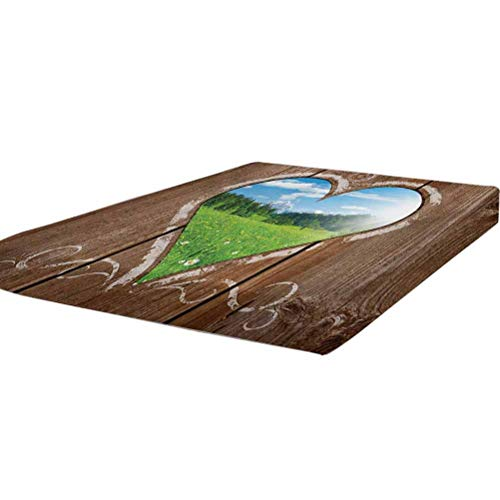 LCGGDB Outhouse Bedding Fitted Sheet Twin Size,Heart Window View from Wooden Rustic Farm Barn Shed with Chalk Art Image Stain Resistant Deep Pocket Bed Sheet,Brown Blue and Green