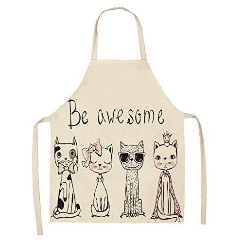 LIUKLAI Delantal de cocina de gato de dibujos animados lindo para mujer, babero de lino y algodón, delantal de limpieza para el hogar, delantal de cocina para el hogar, 68x55cm-2WQ-WQ0057-4_68x55cm