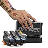 Prinker. Color your way dispositivo tatuaje temporal paquete para su inmediata personalizado tatuajes temporales con prima cosmética a todo color + tinta negro - (negro)