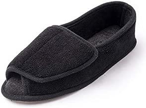Diabetic Slippers For Women Memory Foam Arthritis Edema Adjustable Open Toe Swollen Feet House Shoes,9#BLK.