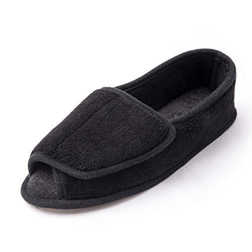 [Git-up] レディースルームシューズ リハビリ靴 介護用靴 衝撃吸収 足の腫れ 調節可能 スリッパ 静音で軽量 転倒予防シューズ 介護靴 女性用 妊娠中 産後 滑り止め つま先なし 通気性 歩きやすい 糖尿病, Black 10