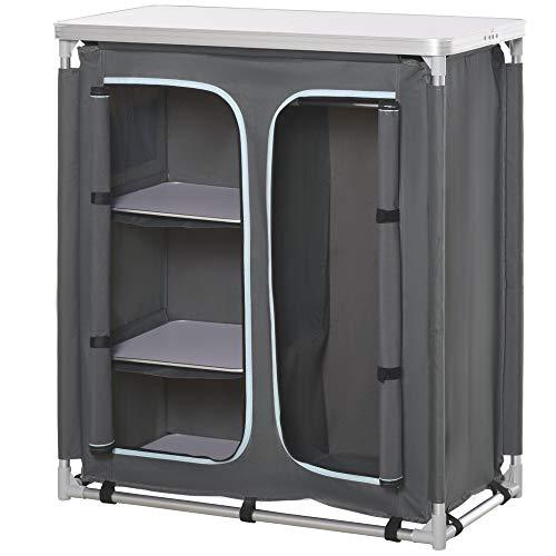 Outsunny Campingschrank Küchenbox tragbar mit Arbeitsplatte Tragetasche 3 Ablagen 1 Schrank 600D Oxford Stoff Grau 96 x 49,5 x 104 cm