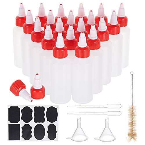 PandaHall Paquete de 20 botellas de plástico de 2 onzas con boca puntiaguda, tapas de rosca para pegamento, pintura acrílica con etiquetas adhesivas, cuentagotas, embudo, cepillo de limpieza