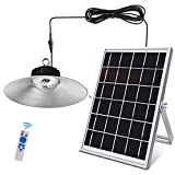 Super Bright 3000 Lumen Solar Pendant Light Hanging Indoor Outdoor Shed Lights IP66 Waterproof Dusk to Dawn Sun Powered LED Lamp with 33ft Cable for Gazebo Cabin Garage Carport Shop Gutter Barn