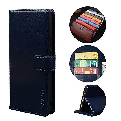 BaiFu Handyhülle für Asus ROG Phone 3 Hülle mit Kartenfach Magnetisch Premium Leder Flip Schutzhülle Tasche Hülle Brieftasche Etui lederhülle Kompatibel mit Asus ROG Phone 3 -Dunkelblau