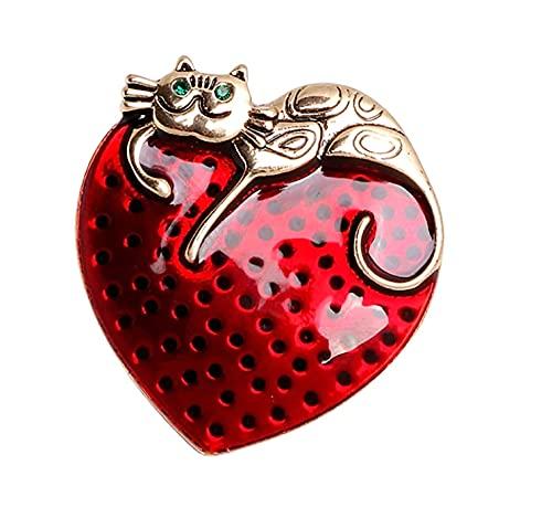 Broche de latón esmaltado rojo con forma de corazón estilo retro de bronce con diseño de gato para fiesta, casual, lindo, joyería de moda, regalo para mujeres amantes de los gatos