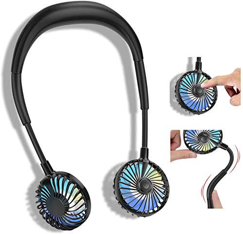 Ventilador personal portátil de 2600 mAh, manos libres, mini USB, ventilador de cuello, ventilador de escritorio, 3 velocidades, luz LED, aromaterapia para deportes