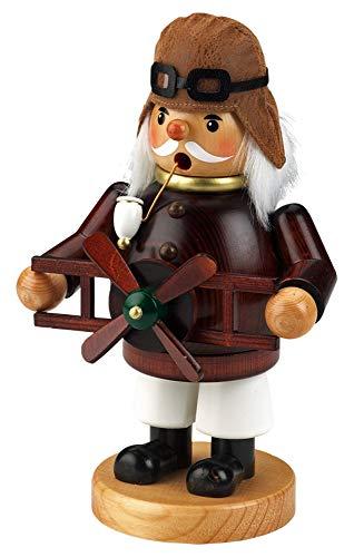 yanka-style Räuchermännchen Räuchermann Räucherfigur Rauchfigur Pilot ca. 22 cm hoch aus Holz Weihnachten Advent Geschenk Dekoration (30368-22)