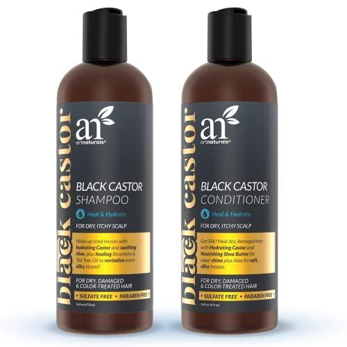 artnaturals Black Castor-Oil Shampoo and Conditioner – (2 x 16 Fl Oz / 473ml) – Strengthen, Grow and Restore – Jamaican Castor – For Color Treated Hair