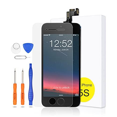 Yodoit Ersatz für iPhone 5s/SE Display vormontiert LCD Ersatz Bildschirm mit Home Button, Touchscreen Reparatur-Set komplett mit Werkzeug-Kit (Schwarz)