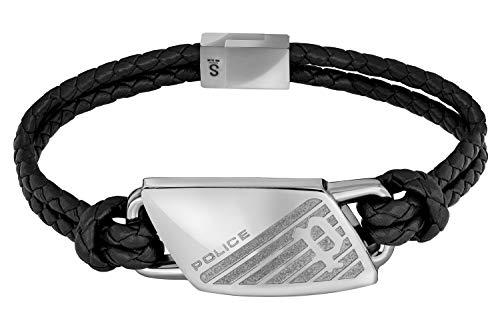 Police Leder-Armband für Herren Matobo Schwarz PJ26559BLS.01