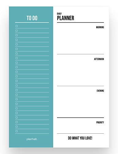 Agenda journalier « To Do List » - Format A5 - 50 pages - To Do List Daily Planner (blanc et turquoise)