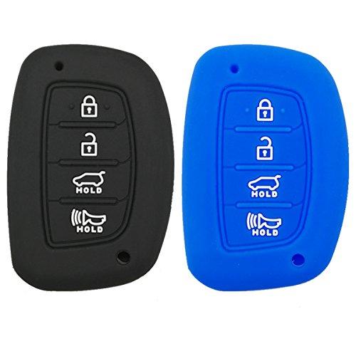 Coolbestda 2Pcs Rubber 4 Buttons Smart Key Fob Remote Cover Case Protector Keyless Jacket for 2018 2017 2016 Hyundai Tucson Elantra Sonata (NOT FIT Flip/Pop Out/Folding Key