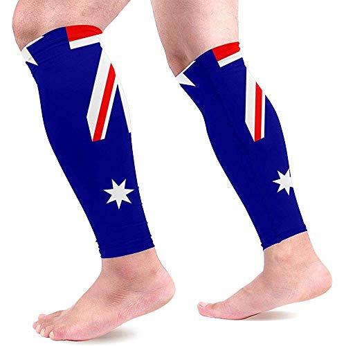 Australische vlag kalf compressie mouwen voor mannen en vrouwen beste voetloze compressie sokken voor hardlopen been pijn 1 paar