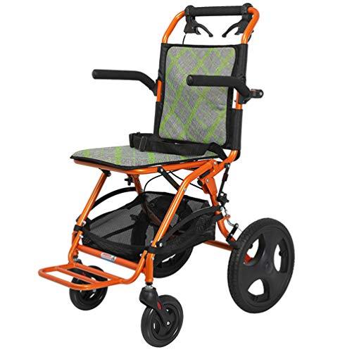Silla de ruedas ultraligera, aleación de aluminio, accionamiento manual, súper ligera, médica, silla de transporte plegable con bolsa de transporte, para personas mayores discapacitadas, naranja