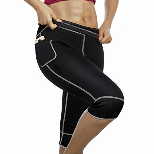 Bingrong Women Weight Loss Hot Neoprene Sauna Sweat Pants with Side Pocket Workout Thighs Slimming Capris Leggings Body Shaper Black Medium