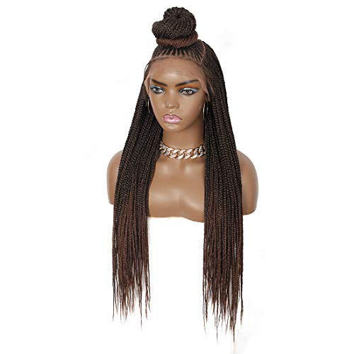 """Beauart 30 inches 13X7"""" Swiss Lace Front Box Braided Wigs with Baby Hair for Black Women 100% Handmade Updo Bun Brown Lightweight Japan-made Synthetic Lace Frontal Cornrow Twist Braided Wigs"""