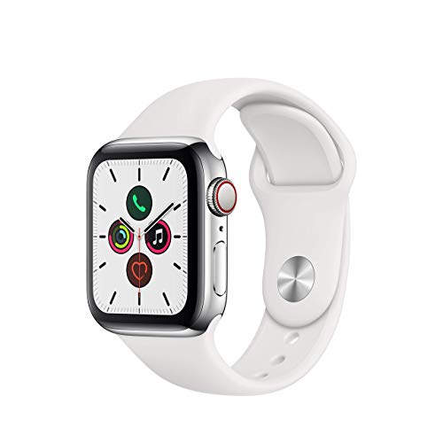 Apple Watch Series cinco (GPS + Cellular, 40 mm) Acero Inoxidable - Correa Deportiva Blanco