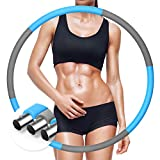 Exercise Hoops for Adults Weight Loss,Stainless Steel Tube Detachable Assembly Fitness Hoop, Adjustable Weights Design for Home Workout Fat Burning,Blue