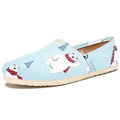 TIZORAX Slip on Loafer Schuhe für Damen Skating Schal Eisbär Bequem Casual Canvas Flache Bootsschuhe, Mehrfarbig - mehrfarbig - Größe: 40 EU