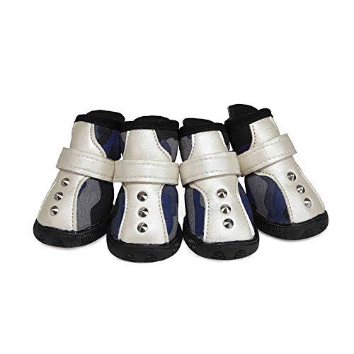 CUIZC Zapatos para perros de camuflaje, con botones en la parte trasera, cremallera Oxford, suela