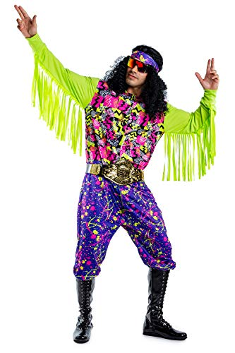Tipsy Elves Men's Macho Wrestler Costume - Funny Neon Savage Halloween Jumpsuit Size M