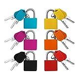 Mini candado de 6 piezas con juego de llaves, candado de equipaje colorido Candado pequeño Cerradura de seguridad de...