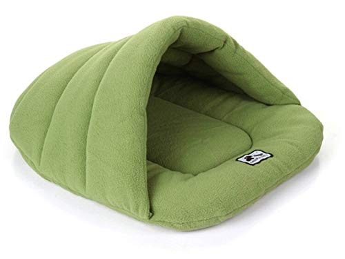 N/E Zhexundian Winter Warm Slippers Style Dog Bed Pet Dog House Lovely Soft Suitable Cat Dog Bed House For Pets Cushion Cave Bed (Color : Green, Size : 38X48CM)