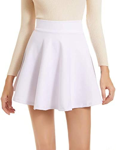 NexiEpoch High Waisted Mini Skirts for Women Girls Basic Versatile Stretchy Casual Flowy Skater product image